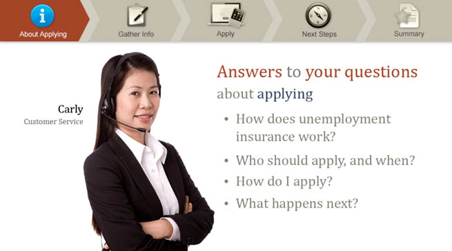 A woman named Carly saying Answerd to yourquestions about applying for unemployment insurance