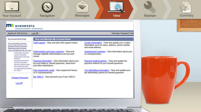 A desk with a laptop and coffee cup. An unemployment insurance screen appears on the laptop