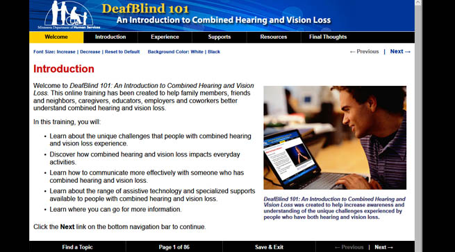 A screen print of the welcome page for DeafBlind 101. There is a photo of a young man taking the course.