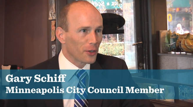 Photo of Gary Schiff, Minneapolis City Council Member, talking at a restaurant
