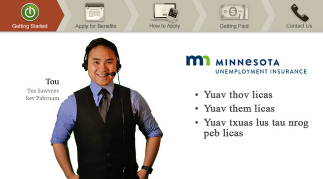 Welcome slide for Applying for Benefits with a Hmong man named Tou