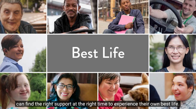"A collage of people with disabilities. In the center of the screen is the text ""Best Life"""