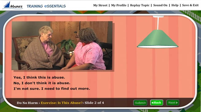 Image of the elearning interface with a photo of an elderly woman and a caregiver with a multiple choice question about abuse