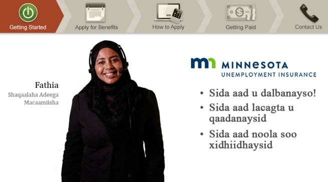 Welcome slide for Applying for Benefits with a Somali woman named Fathia