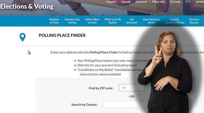 An ASL interpreter is in front a website image showing how to find a polling place